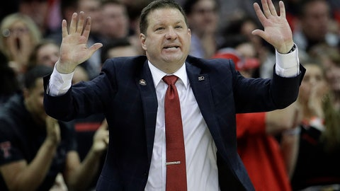 <p>               Texas Tech coach Chris Beard talks to his team during the second half of an NCAA college basketball game against West Virginia in the Big 12 men's tournament Thursday, March 14, 2019, in Kansas City, Mo. West Virginia won 79-74. (AP Photo/Charlie Riedel)             </p>