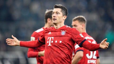 <p>               Bayern's Robert Lewandowski celebrates after he scored his side's third goal during the German Bundesliga soccer match between Borussia Moenchengladbach and FC Bayern Munich in Moenchengladbach, Germany, Saturday, March 2, 2019. (AP Photo/Martin Meissner)             </p>