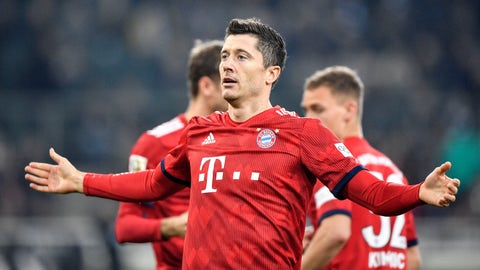 <p>               Bayern's Robert Lewandowski celebrates after he scored his side's third goal during the German Bundesliga soccer match between Borussia Moenchengladbach and FC Bayern Munich in Moenchengladbach, Germany, Saturday, March 2, 2019. (AP Photo/Martin Meissner)             </p>