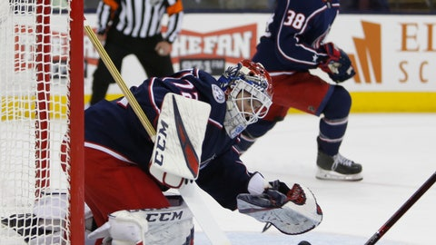 <p>               Columbus Blue Jackets' Sergei Bobrovsky, of Russia, makes a save against the Carolina Hurricanes during the first period of an NHL hockey game Friday, March 15, 2019, in Columbus, Ohio. (AP Photo/Jay LaPrete)             </p>