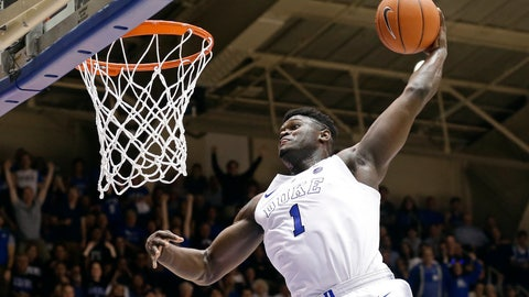 <p>               FILE - In this Jan. 5, 2019, file photo, Duke's Zion Williamson (1) dunks during the second half of an NCAA college basketball game against Clemson, in Durham, N.C. Williamson was named both The Associated Press ACC player and newcomer of the year, Tuesday, March 12, 2019. (AP Photo/Gerry Broome, File)             </p>