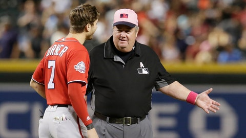 <p>               FILE - In this May 13, 2018, file photo, MLB umpire Joe West, right, talks with a player in the ninth inning during a baseball game between the Arizona Diamondbacks and the Washington Nationals in Phoenix. West, who has umpired more than 5,000 big league games, said the 2016 TrackMan computer system test was far from perfect. (AP Photo/Rick Scuteri, File)             </p>