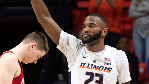<p>               Illinois guard Aaron Jordan (23) waves to the crowd after being subbed out in his last home game, during the second half against Indiana in an NCAA college basketball game in Champaign, Ill., Thursday, March 7, 2019. (AP Photo/Stephen Haas)             </p>