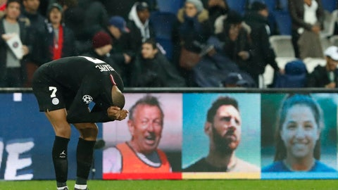 <p>               PSG forward Kylian Mbappe reacts end of the Champions League round of 16, 2nd leg, soccer match between Paris Saint Germain and Manchester United at the Parc des Princes stadium in Paris, France, Wednesday, March. 6, 2019. (AP Photo/Thibault Camus)             </p>