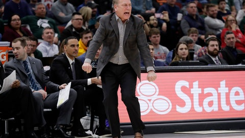 <p>               Michigan State head coach Tom Izzo directs his team during the second half of an NCAA college basketball game against Wisconsin in the semifinals of the Big Ten Conference tournament, Saturday, March 16, 2019, in Chicago. (AP Photo/Nam Y. Huh)             </p>