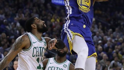 <p>               Golden State Warriors' Kevin Durant, right, shoots over Boston Celtics' Kyrie Irving (11) during the first half of an NBA basketball game Tuesday, March 5, 2019, in Oakland, Calif. (AP Photo/Ben Margot)             </p>
