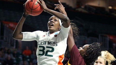 <p>               Miami's Beatrice Mompremier pulls in a rebound as Arizona State's Charnea Johnson-Chapman (33) defends during a second-round women's college basketball game in the NCAA Tournament, Sunday, March 24, 2019, in Coral Gables, Fla. (AP Photo/Luis M. Alvarez)             </p>