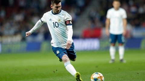 <p>               Argentina's Lionel Messi runs with the ball during an international friendly soccer match between Argentina and Venezuela at Wanda Metropolitano stadium in Madrid, Spain, Friday, March 22, 2019. (AP Photo/Bernat Armangue)             </p>