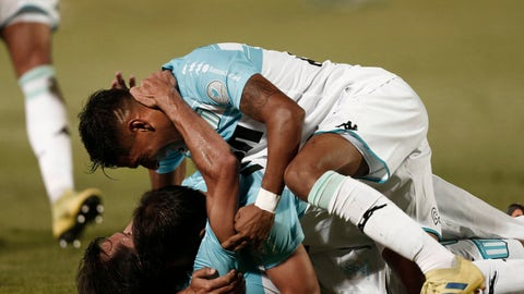 <p>               Racing Club's midfielder Augusto Solari celebrates with his teammates after scoring against Tigre during an Argentine Superliga soccer match in Victoria, on the outskirts of Buenos Aires, Argentina, Sunday, March 31, 2019. (AP Photo/Mariano Blanc)             </p>