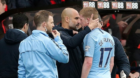 <p>               Manchester City manager Pep Guardiola consoles injured player Kevin De Bruyne as he leaves the pitch during the  English Premier League soccer match between Bournemouth and Manchester City,  at the Vitality Stadium, in  Bournemouth, England, Saturday March 2, 2019. (Adam Davy/PA via AP)             </p>