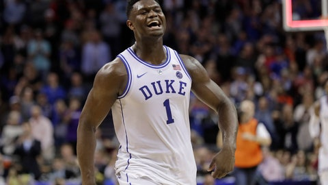 <p>               Duke's Zion Williamson (1) celebrates after Duke defeated Florida State in the NCAA college basketball championship game of the Atlantic Coast Conference tournament in Charlotte, N.C., Saturday, March 16, 2019. (AP Photo/Nell Redmond)             </p>