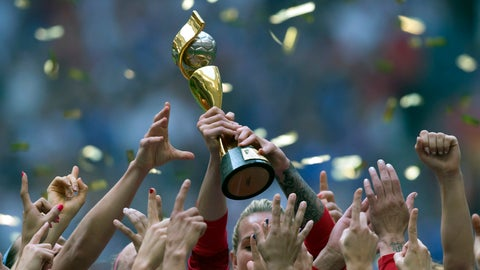 <p>               FILE - In this July 5, 2015, file photo, the United States Women's National Team celebrates with the trophy after they defeated Japan 5-2 in the FIFA Women's World Cup soccer championship in Vancouver, British Columbia, Canada. People with knowledge of FIFA's finances told The Associated Press that in the four-year period covering the 2018 World Cup, FIFA's reserves soared to $2.74 billion and revenue rose to $6.4 billion, but it also underscores the glaring disparity between men and women's soccer. (Darryl Dyck/The Canadian Press via AP, File)             </p>