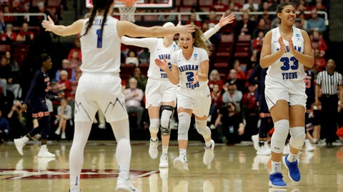<p>               BYU celebrates after their win against Auburn during a first-round game in the NCAA women's college basketball tournament in Stanford, Calif. Saturday, March 23, 2019. (AP Photo/Chris Carlson)             </p>