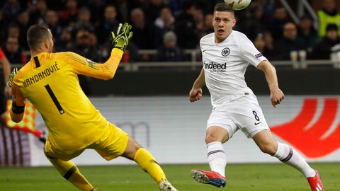 <p>               File - In this Thursday, March 14, 2019, file photo, Frankfurt's Luka Jovic, right, scores his side's opening goal during the Europa League round of 16 second leg soccer match between Inter Milan and Eintracht Frankfurt at the San Siro stadium in Milan, Italy. (AP Photo/Antonio Calanni, file)             </p>