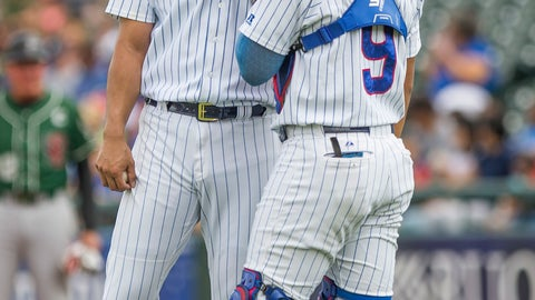 <p>               FILE - In this Aug. 19, 2018, file photo, Chicago Cubs' Yu Darvish, left, speaks with South Bend Cubs catcher Miguel Amaya during the Great Lakes Loons at South Bend Cubs baseball game, at Four Winds Field in South Bend, Ind.  Catcher Amaya seems to have a bright future with the Chicago Cubs. Cubs director of international pro scouting Alex Suarez says the young prospect has certain intangibles that teams look for behind the plate. Amaya is slowly making his way up, playing last season at Class A South Bend, where he batted .256 with 12 home runs and 52 RBIs in 116 games. (Robert Franklin/South Bend Tribune via AP, File)             </p>