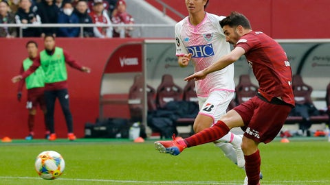 <p>               Vissel Kobe's David Villa scores his first goal in Japan against Sagan Tosu during a J-League soccer match in Kobe, western Japan, Saturday, March 2, 2019.(Kyodo News via AP)             </p>