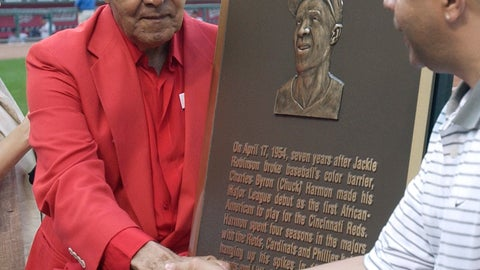 <p>               FILE - In this April 20, 2004, file photo, former Cincinnati Reds player Chuck Harmon, left, reaches across a plaque honoring him to shake hands with his son, Chuck Harmon Jr., during ceremonies before the Reds game against the Atlanta Braves in Cincinnati.  Harmon, the Reds' first African-American player, died Tuesday, March 19, 2019. He was 94. (AP Photo/Al Behrman, File)             </p>