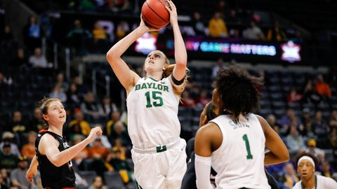 <p>               Baylor forward Lauren Cox (15) shoots against Texas Tech during the second half of an NCAA college basketball game in the Big 12 women's conference tournament in Oklahoma City, Saturday, March 9, 2019. Baylor won 100-61. (AP Photo/Alonzo Adams)             </p>