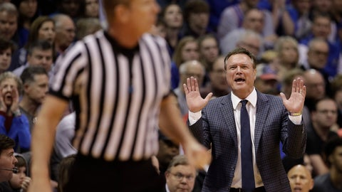 <p>               Kansas head coach Bill Self reacts to a call during the second half of an NCAA college basketball game against Baylor Saturday, March 9, 2019, in Lawrence, Kan. Kansas won 78-70. (AP Photo/Charlie Riedel)             </p>