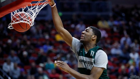 <p>               Michigan State forward Aaron Henry dunks the ball during practice at the NCAA men's college basketball tournament, Wednesday, March 20, 2019, in Des Moines, Iowa. Michigan State plays Bradley on Thursday. (AP Photo/Charlie Neibergall)             </p>