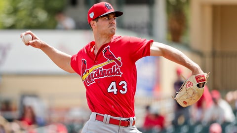 <p>               FILE - In this March 13, 2019, file photo, St. Louis Cardinals starter Dakota Hudson (43) delivers a pitch in the first inning during an exhibition spring training baseball game against the Miami Marlins, in Jupiter, Fla. The 6-foot-5 right-hander could be a bigger part of the Cardinals' pitching plans after a strong spring that includes a 1.72 ERA and 17 strikeouts over 15 2/3 innings. (AP Photo/Brynn Anderson, File)             </p>