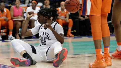 <p>               Louisville's Jazmine Jones (23) reacts after making a basket and being fouled during the first half of an NCAA college basketball game against Clemson in the Atlantic Coast Conference women's tournament in Greensboro, N.C., Friday, March 8, 2019. (AP Photo/Chuck Burton)             </p>