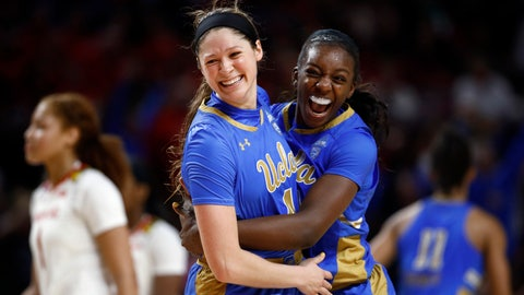 <p>               UCLA guard Lindsey Corsaro, left, and forward Michaela Onyenwere celebrate after a second-round game against Maryland in the NCAA women's college basketball tournament Monday, March 25, 2019, in College Park, Md. UCLA won 85-80. (AP Photo/Patrick Semansky)             </p>