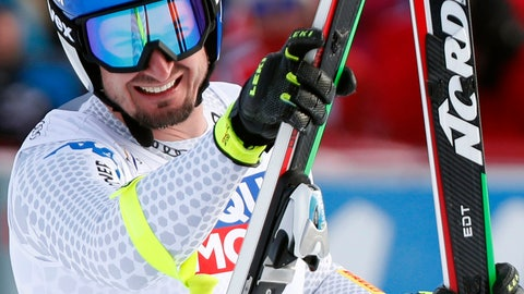 <p>               RECROP - Italy's Dominik Paris celebrates after finishing an alpine ski, World Cup men's downhill, in Kvitfjell, Norway Saturday, March 2, 2019. (Terje Bendiksby/NTB scanpix via AP)             </p>