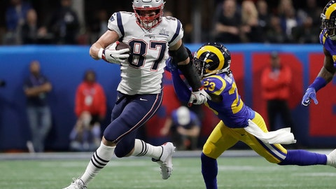 "<p>               FILE - In this Feb. 3, 2019, file photo, New England Patriots' Rob Gronkowski (87) runs against Los Angeles Rams' Nickell Robey-Coleman (23) during the first half of the NFL Super Bowl 53 football game in Atlanta. Gronkowski says he is retiring from the NFL after nine seasons. Gronkowski announced his decision via a post on Instagram Sunday, March 24, 2019, saying that a few months shy of this 30th birthday ""its time to move forward and move forward with a big smile."" (AP Photo/Jeff Roberson, File)             </p>"