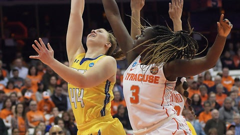 <p>               South Dakota State's Myah Selling (44) shoots as Syracuse's Maeva Djaldi-Tabdi (3) defends during a-second round game in the NCAA women's college basketball tournament in Syracuse, N.Y., Monday, March 25, 2019. (AP Photo/Heather Ainsworth)             </p>