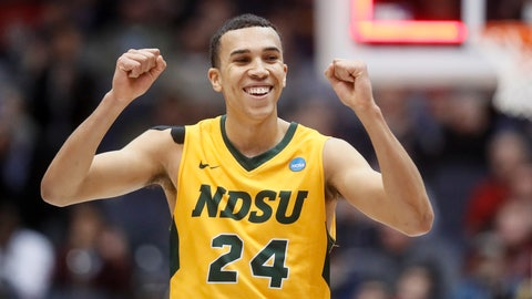 <p>               North Dakota State's Tyson Ward reacts after the team's win over North Carolina Central in a First Four game of the NCAA men's college basketball tournament Wednesday, March 20, 2019, in Dayton, Ohio. (AP Photo/John Minchillo)             </p>