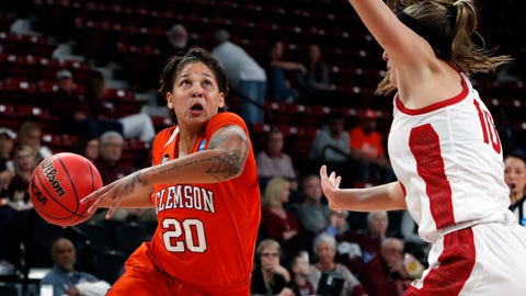 <p>               Clemson guard Simone Westbrook (20) looks for a layup shot while defended by South Dakota guard Allison Arens (10) during a first round women's college basketball game in the NCAA Tournament in Starkville, Miss., Friday, March 22, 2019. (AP Photo/Rogelio V. Solis)             </p>