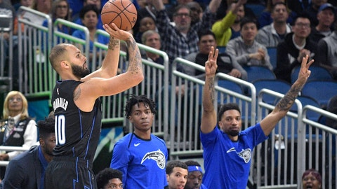 <p>               Orlando Magic guard Evan Fournier (10) goes up for a 3-pointer during the first half of the team's NBA basketball game against the New Orleans Pelicans on Wednesday, March 20, 2019, in Orlando, Fla. (AP Photo/Phelan M. Ebenhack)             </p>