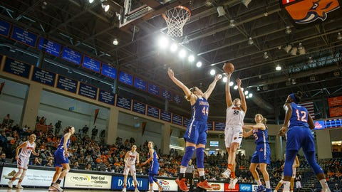 <p>               Bucknell's Kaitlyn Slagus, center right, shoots with American's Cecily Carl, center, defending during the first half of an NCAA college basketball game Sunday, March 17, 2019, in Lewisberg, Pa. (AP Photo/Chris Szagola)             </p>
