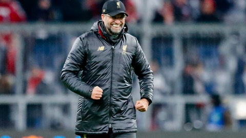 <p>               Liverpool coach Juergen Klopp celebrates at the end of the Champions League round of 16 second leg soccer match between Bayern Munich and Liverpool in Munich, Germany, Wednesday, March 13, 2019. (AP Photo/Matthias Schrader)             </p>