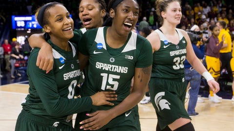 <p>               Michigan State's Shay Colley (0) and Victoria Gaines (15) hug as they walk off the court following their 88-87 win over Central Michigan in a first-round game in the NCAA women's college basketball tournament in South Bend, Ind., Saturday, March 23, 2019. (AP Photo/Robert Franklin)             </p>