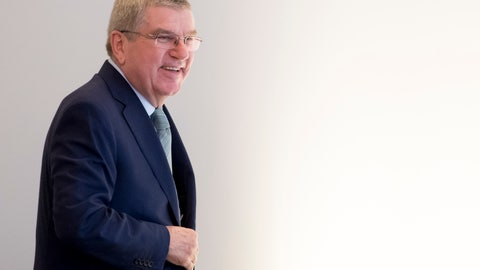 <p>               International Olympic Committee (IOC) president Thomas Bach from Germany arrives at the opening of the first day of the executive board meeting of the International Olympic Committee (IOC), in Lausanne, Switzerland, Tuesday, March 26, 2019. (Laurent Gillieron/Keystone via AP)             </p>