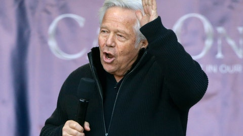 <p>               File-This Jan. 27, 2019, file photo shows New England Patriots owner Robert Kraft addressing the crowd during an NFL football Super Bowl send-off rally for the team, in Foxborough, Mass. Kraft now says he wants his misdemeanor solicitation of prostitution charge tried by a jury, not a judge. Kraft's attorneys filed a court notice Tuesday, March 26, 2019, also waiving his arraignment, which had been scheduled for Thursday. His lawyer's also reiterated his not guilty plea, which he made last month. Kraft and 24 other men were charged in Palm Beach County as part of a multicounty crackdown on massage parlor prostitution. (AP Photo/Steven Senne, File)             </p>