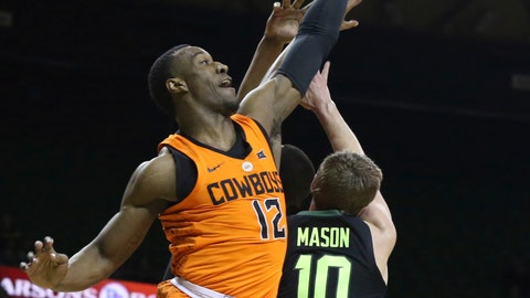 <p>               Oklahoma State forward Cameron McGriff, left, battles Baylor guard Makai Mason, right, for a rebound in the first half of an NCAA college basketball game, Wednesday, March 6, 2019, in Waco, Texas. (Rod Aydelotte/Waco Tribune-Herald via AP)             </p>