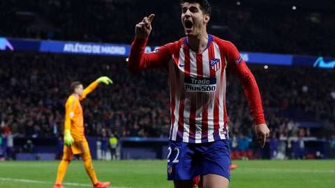 <p>               FILE - In this Wednesday, Feb. 20, 2019 file photo, Atletico forward Alvaro Morata reacts after scoring his side's opening goal but the goal was disallowed after a review by VAR during the Champions League round of 16 first leg soccer match between Atletico Madrid and Juventus at Wanda Metropolitano stadium in Madrid.  Morata scored twice to give 10-man Atletico Madrid a 2-0 win at Real Sociedad on Sunday, March 3, 2019 and keep alive its hopes of fighting Barcelona for the Spanish league title. (AP Photo/Manu Fernandez, File)             </p>