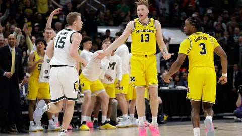 <p>               Michigan's Ignas Brazdeikis (13) reacts after shooting a 3-point basket during the first half of an NCAA college basketball championship game against Michigan State in the Big Ten Conference tournament, Sunday, March 17, 2019, in Chicago. (AP Photo/Nam Y. Huh)             </p>