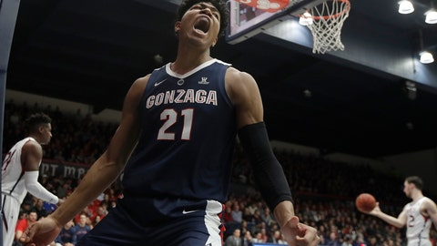 <p>               Gonzaga forward Rui Hachimura (21) yells after dunking against Saint Mary's during the first half of an NCAA college basketball game in Moraga, Calif., Saturday, March 2, 2019. (AP Photo/Jeff Chiu)             </p>