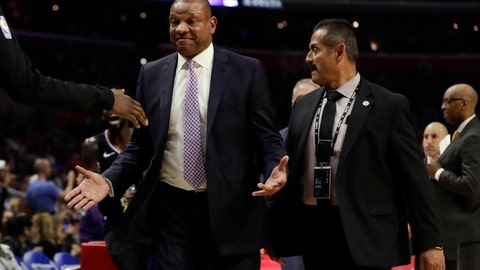 <p>               Los Angeles Clippers head coach Doc Rivers is escorted off the court after being ejected from an NBA basketball game against the Chicago Bulls Friday, March 15, 2019, in Los Angeles. (AP Photo/Marcio Jose Sanchez)             </p>