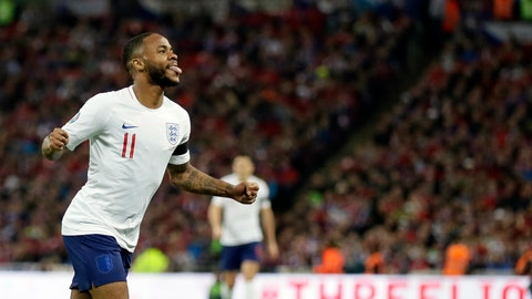 <p>               England's Raheem Sterling celebrates after scoring his side's fourth goal during the Euro 2020 group A qualifying soccer match between England and the Czech Republic at Wembley stadium in London, Friday March 22, 2019. (AP Photo/Tim Ireland)             </p>