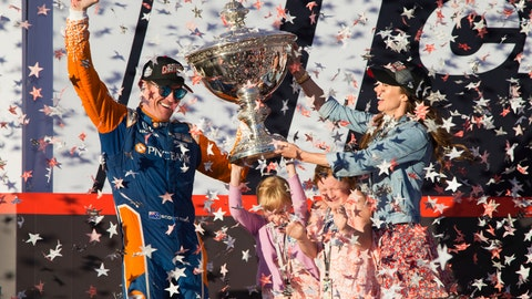 <p>               FILE - In this Sept. 16, 2018, file photo, Scott Dixon holds the Indy Car Championship trophy with his wife Emma Davies and their children Poppy and Tilly Davies Dixon, in Sonoma, Calif. IndyCar is ready to go racing again after six long months spent working on the business side of the series. Deals done since Scott Dixon wrapped up his fifth IndyCar championship last September include new title sponsorship from Japanese communications giant NTT. (AP Photo/Elijah Nouvelage, File)             </p>