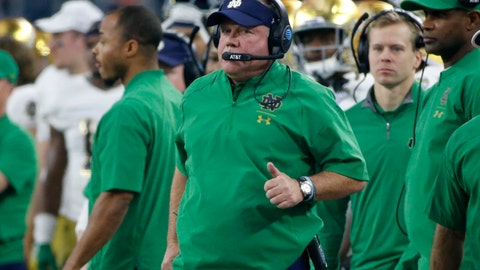 <p>               FILE - In this Saturday, Dec. 29, 2018 file photo, Notre Dame head coach Brian Kelly watches play against Clemson during the NCAA Cotton Bowl semi-final playoff football game in Arlington, Texas. In two of his nine previous seasons at Notre Dame, Brian Kelly and the Fighting Irish have seen the mountain top but failed to plant their flag at the summit, something they haven't done since 1988. (AP Photo/Michael Ainsworth, File)             </p>
