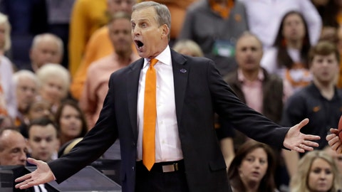 <p>               Tennessee head coach Rick Barnes reacts in the second half against Iowa during a second-round men's college basketball game in the NCAA Tournament in Columbus, Ohio, Sunday, March 24, 2019. (AP Photo/Tony Dejak)             </p>