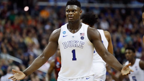 <p>               Duke forward Zion Williamson (1) reacts to a referee's call during the second half of the team's NCAA men's college basketball tournament East Region semifinal against Virginia Tech in Washington, Friday, March 29, 2019. (AP Photo/Alex Brandon)             </p>