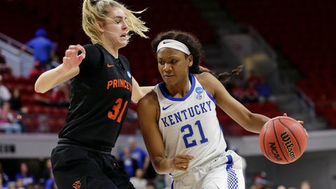 <p>               Kentucky's Ogechi Anyagaligbo (21) drives to the basket while Princeton's Bella Alarie (31) defends during the first half of a first round women's college basketball game in the NCAA Tournament in Raleigh, N.C., Saturday, March 23, 2019. (AP Photo/Gerry Broome)             </p>