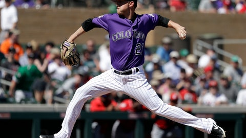 <p>               Colorado Rockies starting pitcher Kyle Freeland throws against the Cincinnati Reds in the first inning of a spring training baseball game Monday, March 18, 2019, in Scottsdale, Ariz. (AP Photo/Elaine Thompson)             </p>